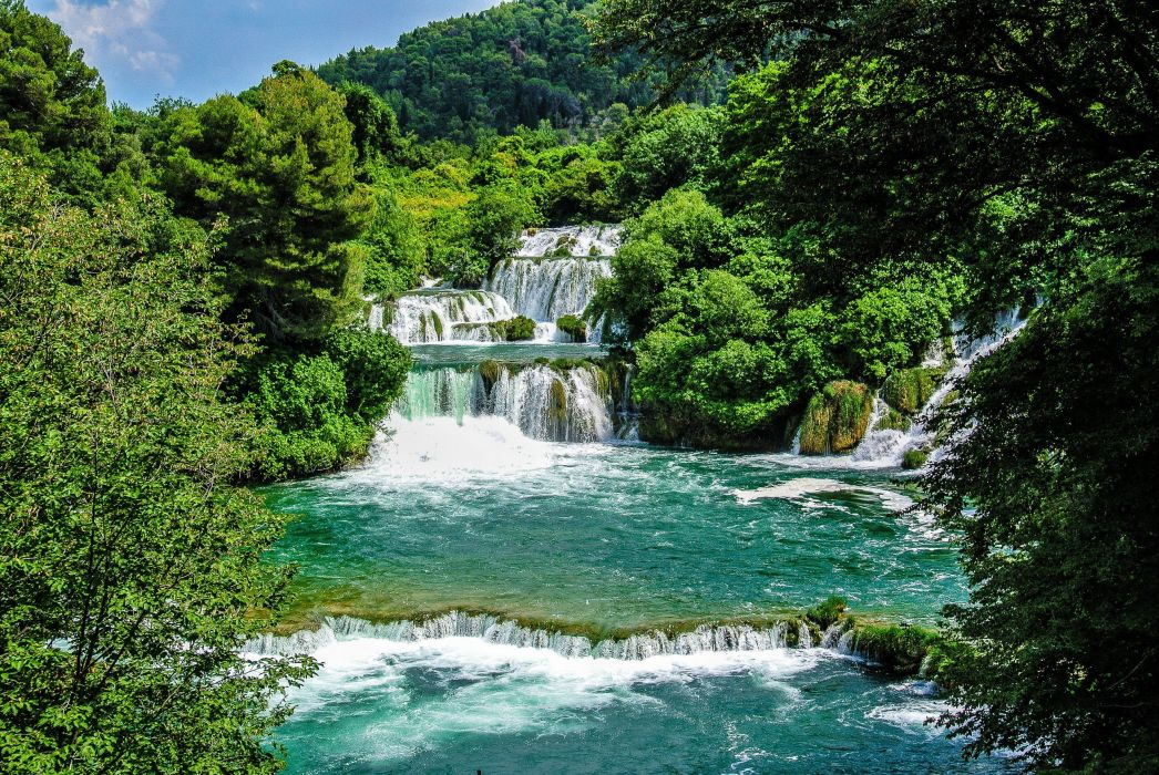 nature green river waterfall wallpaper