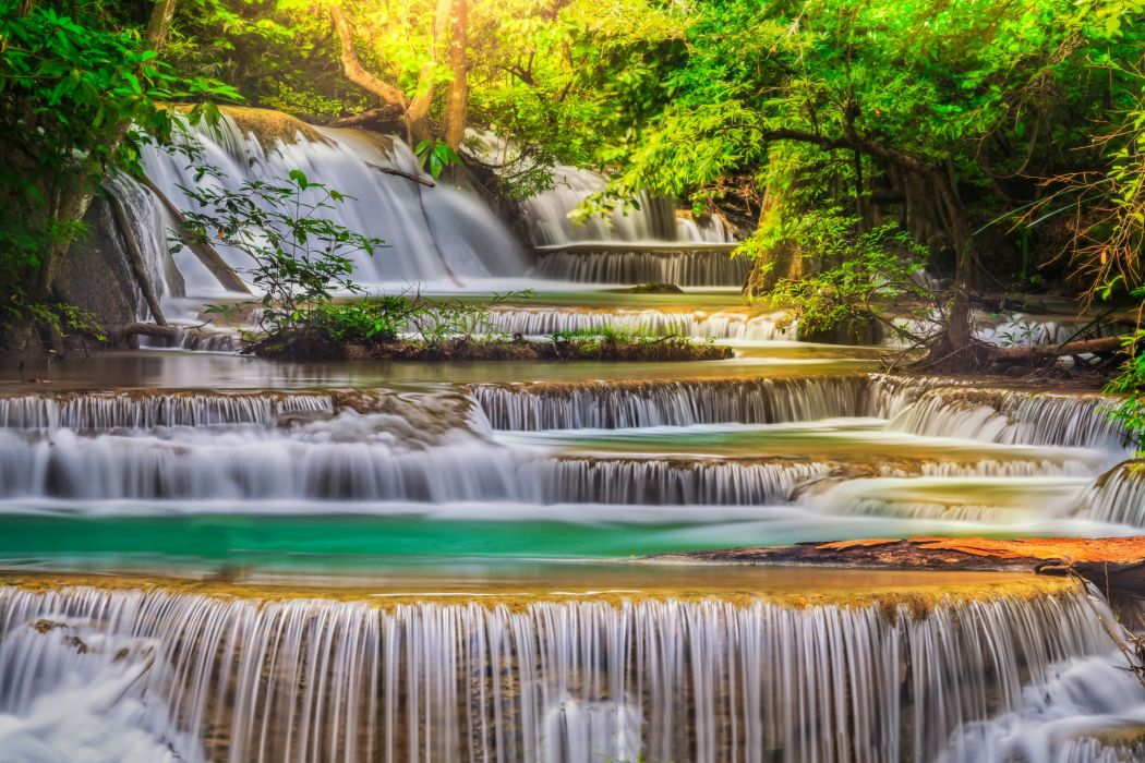 river waterfall green water blue forest nature sky wallpaper