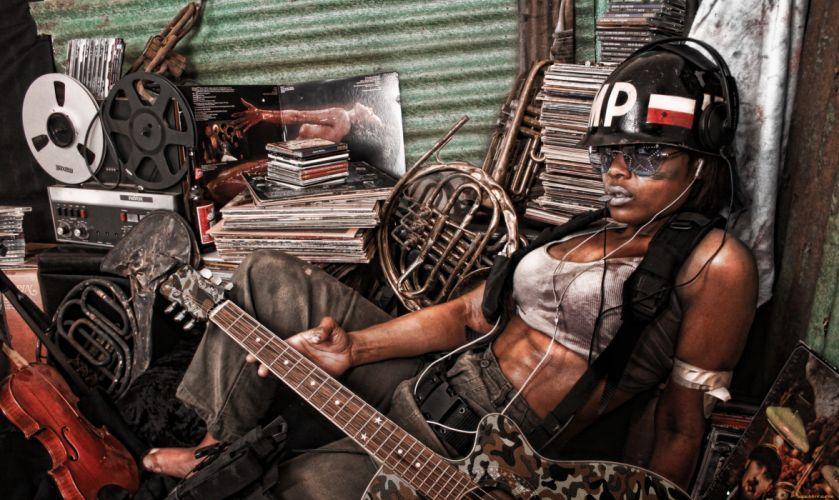 girl black afro beauty body guitar glasses hat wallpaper