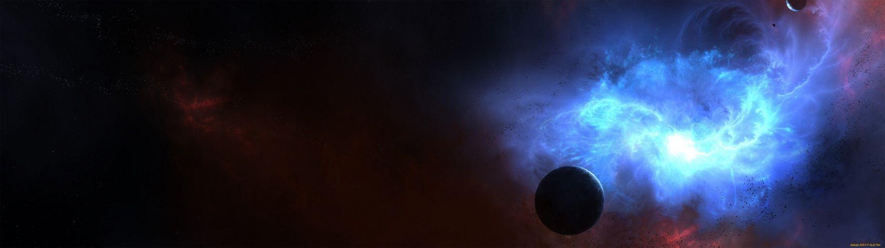 sppace planetsstars blue datk wallpaper