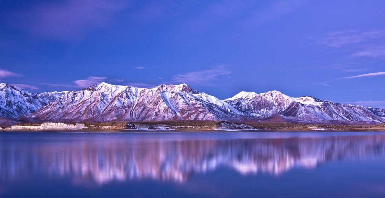 mountains reflection sky blue wallpaper