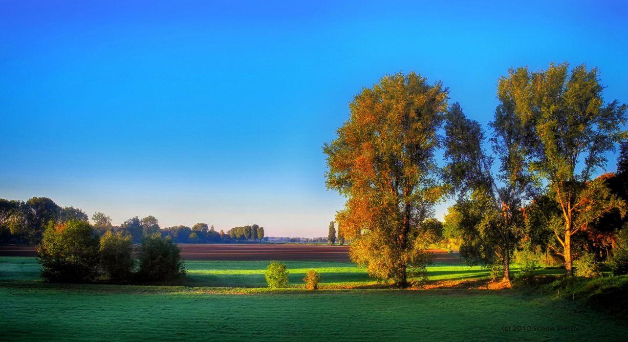 sunset nature sky blue green wallpaper