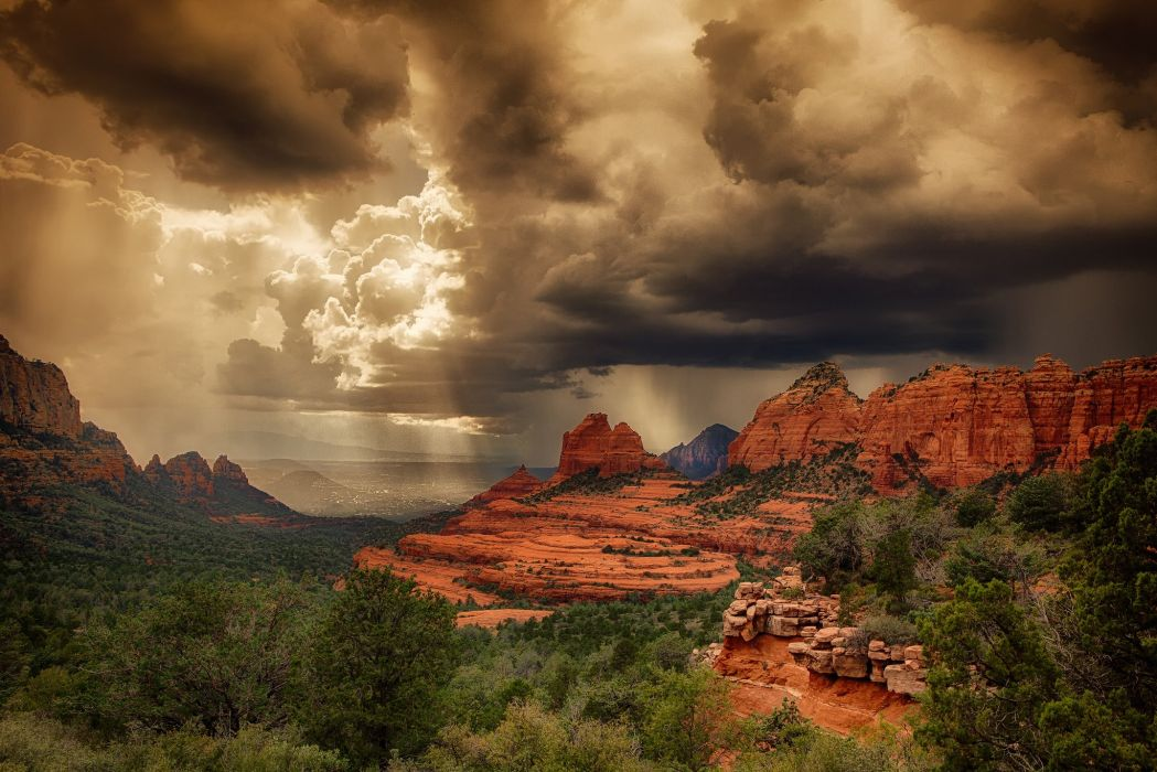 clouds storm mountains wallpaper