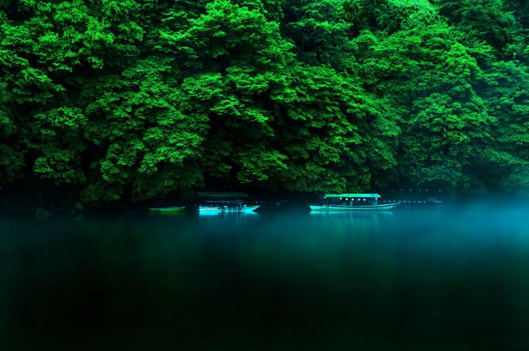 river boats blue green jungle wallpaper