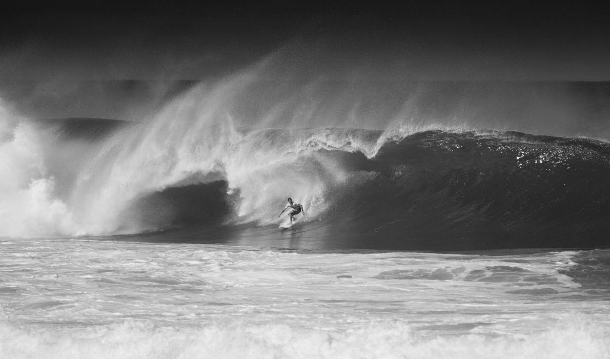 wave surfing bw sport wallpaper