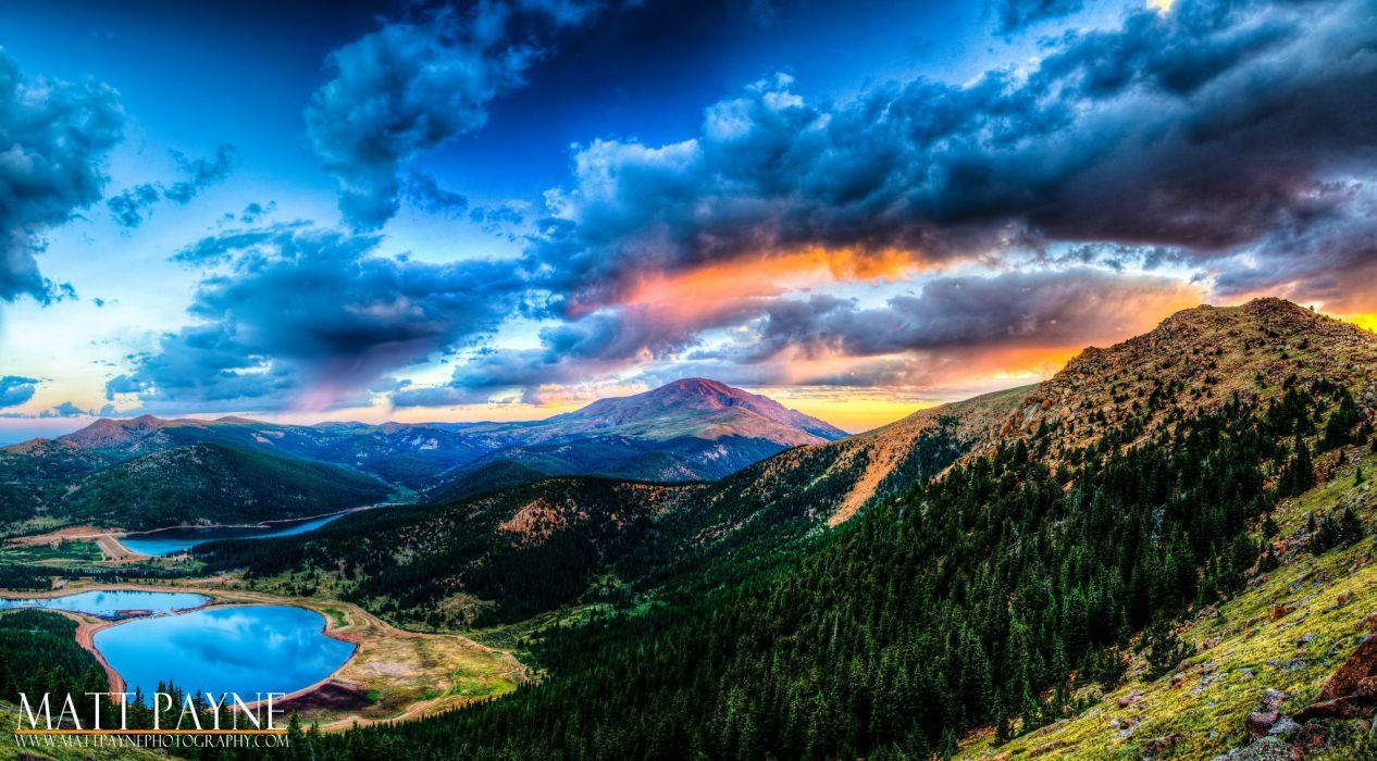 sky clouds nature mountain blue wallpaper