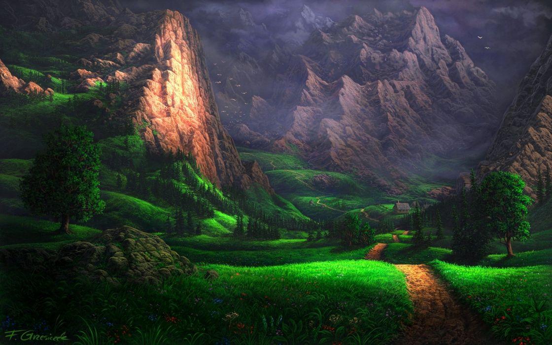 mountain green road nature wallpaper