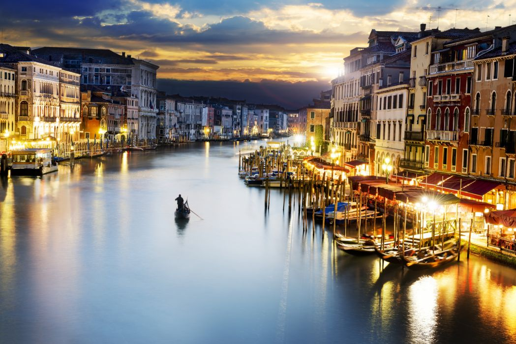 river boat town light wallpaper