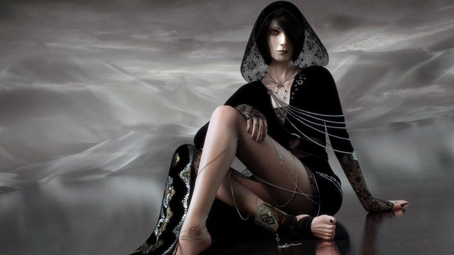 BLACK WIDOW-dark-fantasy-woman-1920x1080 wallpaper