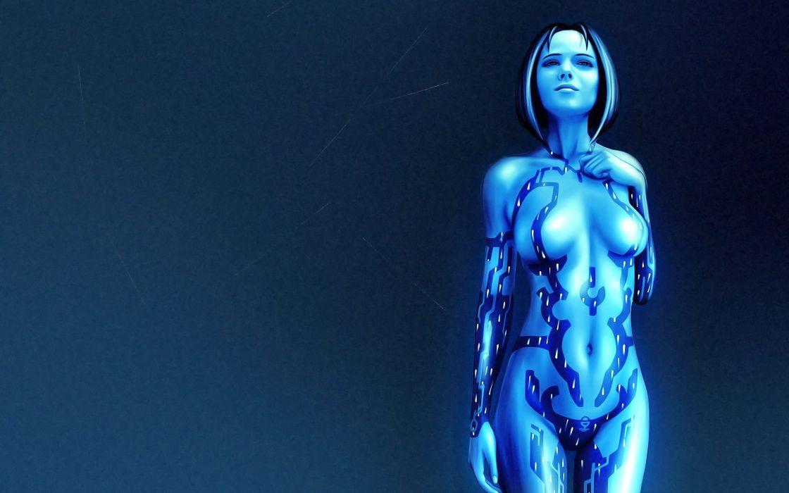 HALO game girl blue art wallpaper