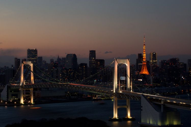 town night river bridge wallpaper