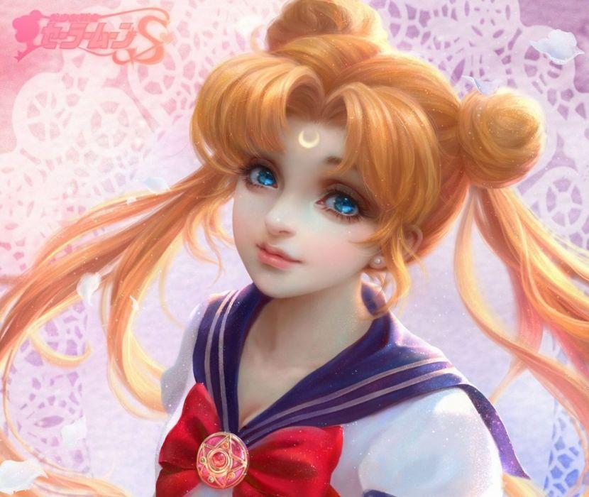 sailor moon serenity moon prety blond hair blue eyes wallpaper