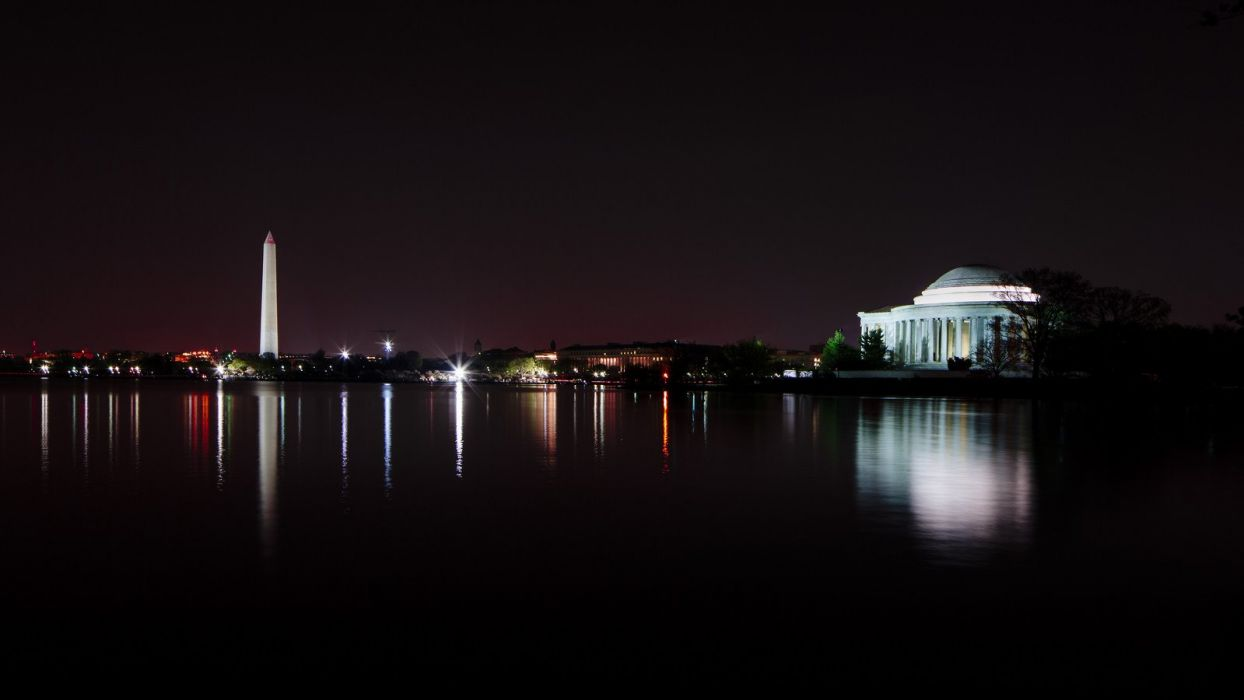 buildings monuments reflection states United USA washington wallpaper