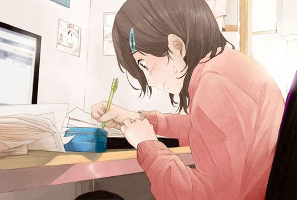 lesson exam girl anime book wallpaper