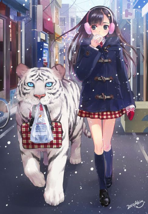 Tiger girl school uniform anime wallpaper