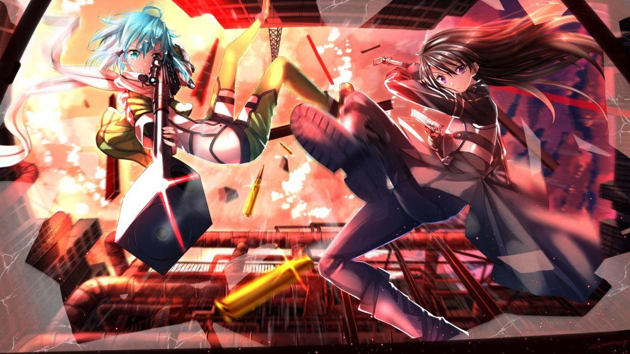 anime girls pink gun sword battle wallpaper