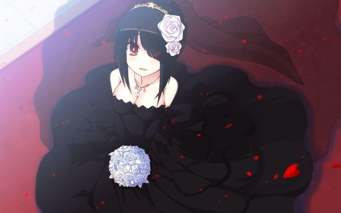 blue roses woman dark dress black love brunette wallpaper