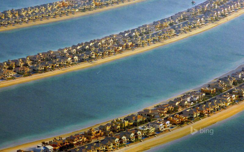 islands dubai houses sea wallpaper