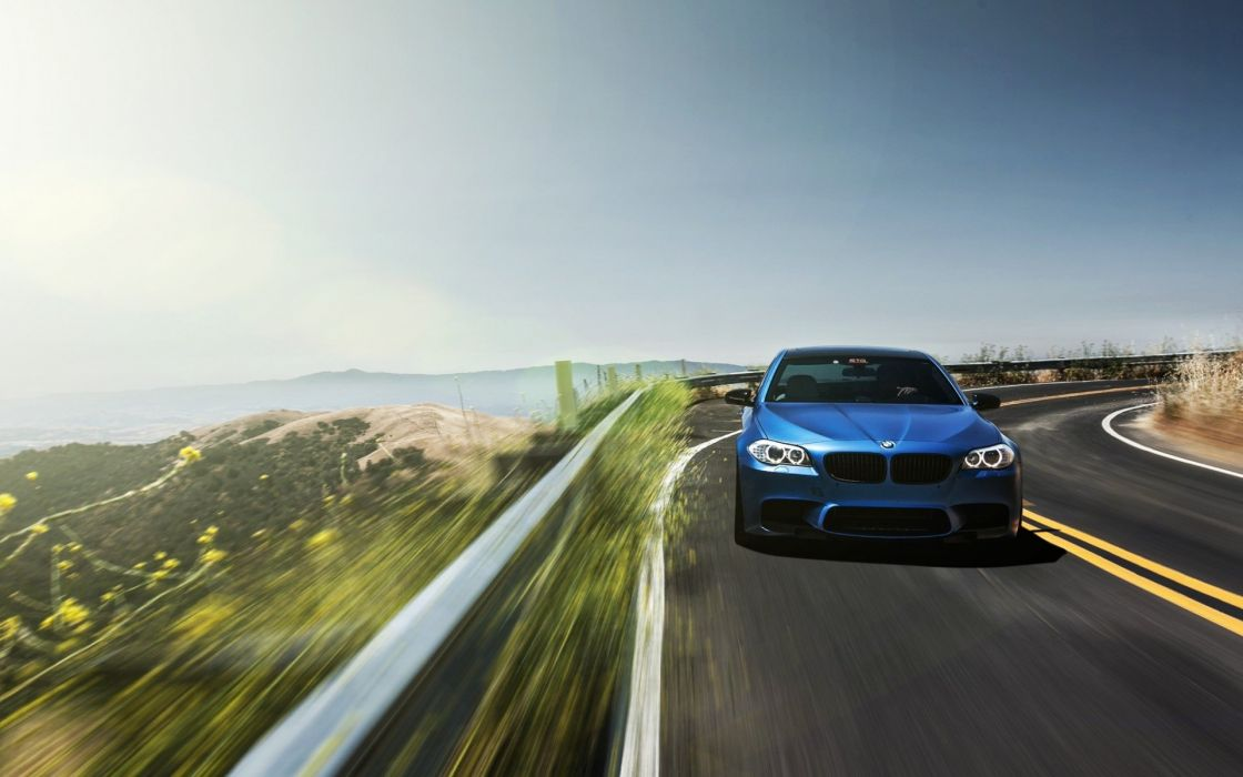 bmw car blue road run wallpaper