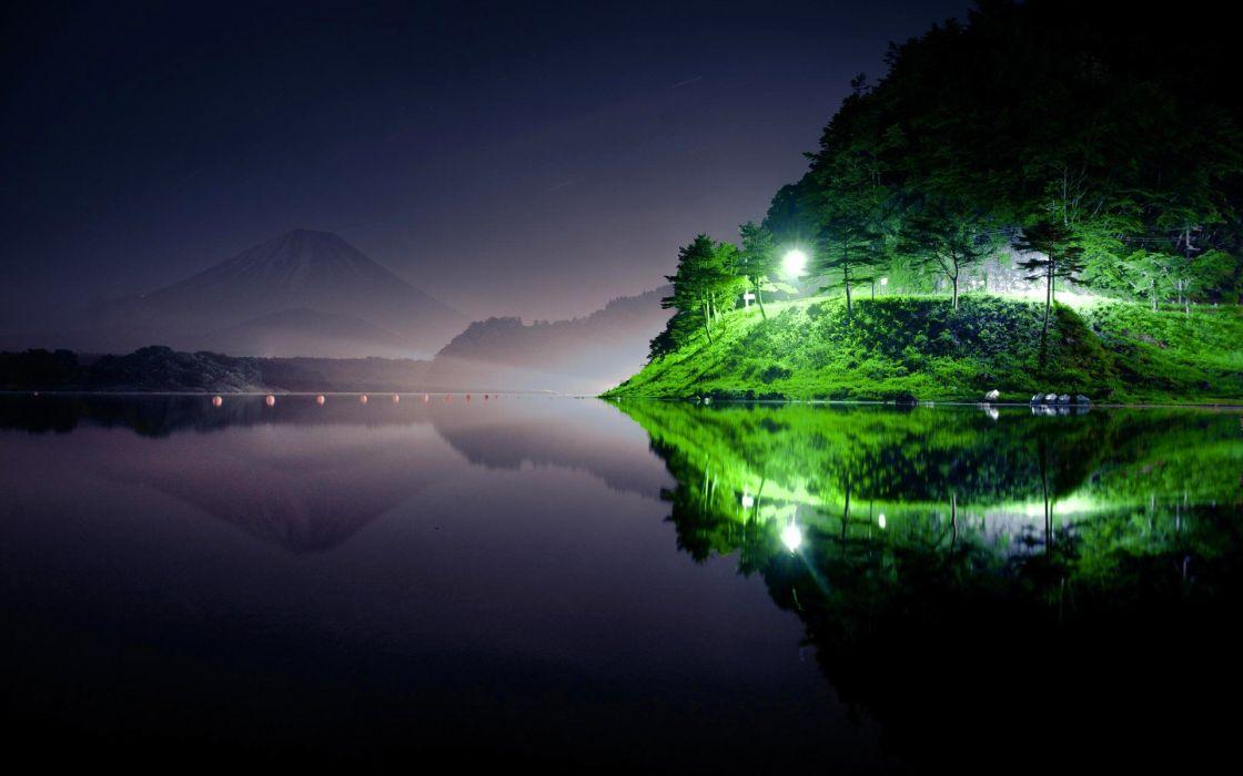 river light night nature green wallpaper