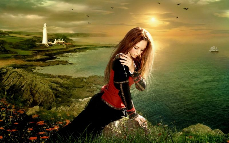 WOMAN ON CLIFF - Sunset-sadness-landscape wallpaper
