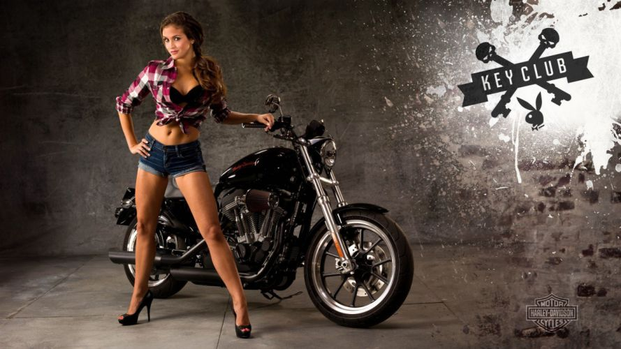 MOTORCYCLES - women-brunette-legs-short-jeans wallpaper