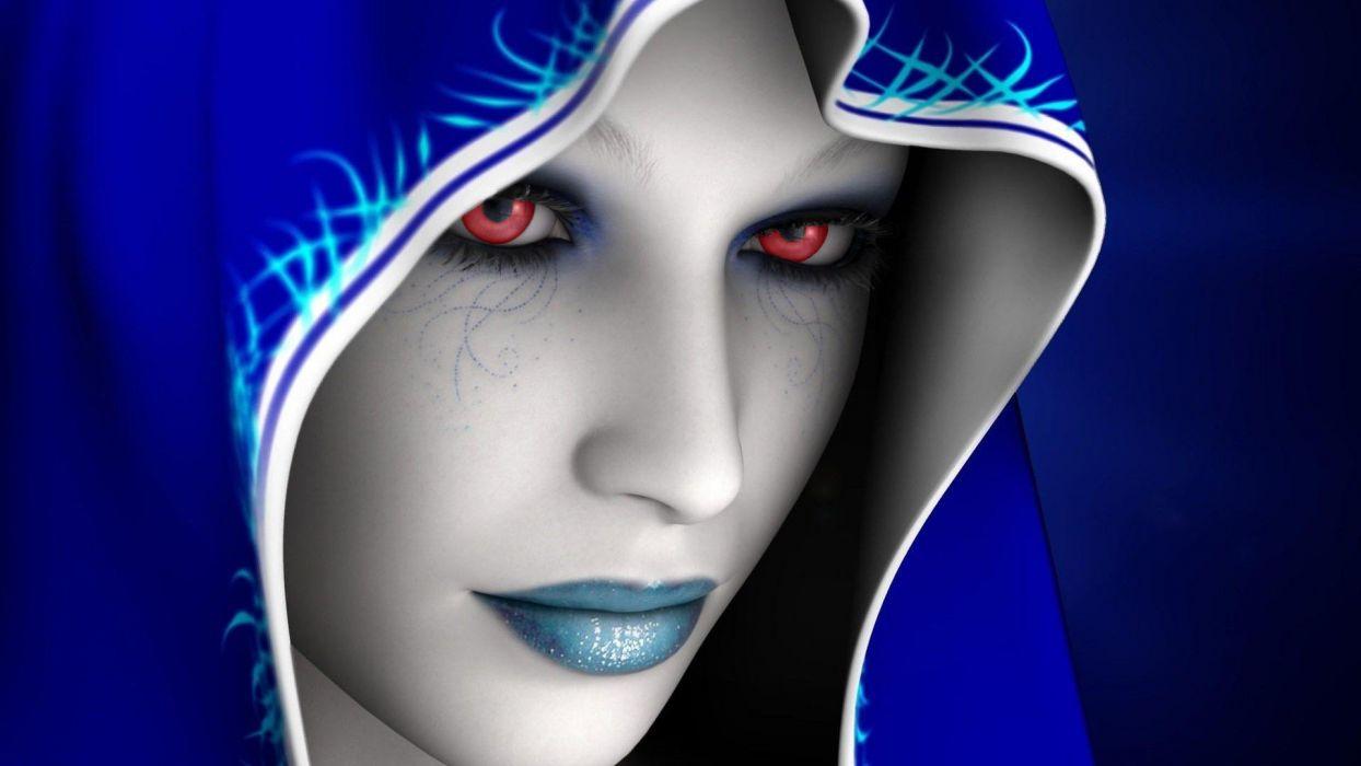 HOLY - Girl-blue-face wallpaper