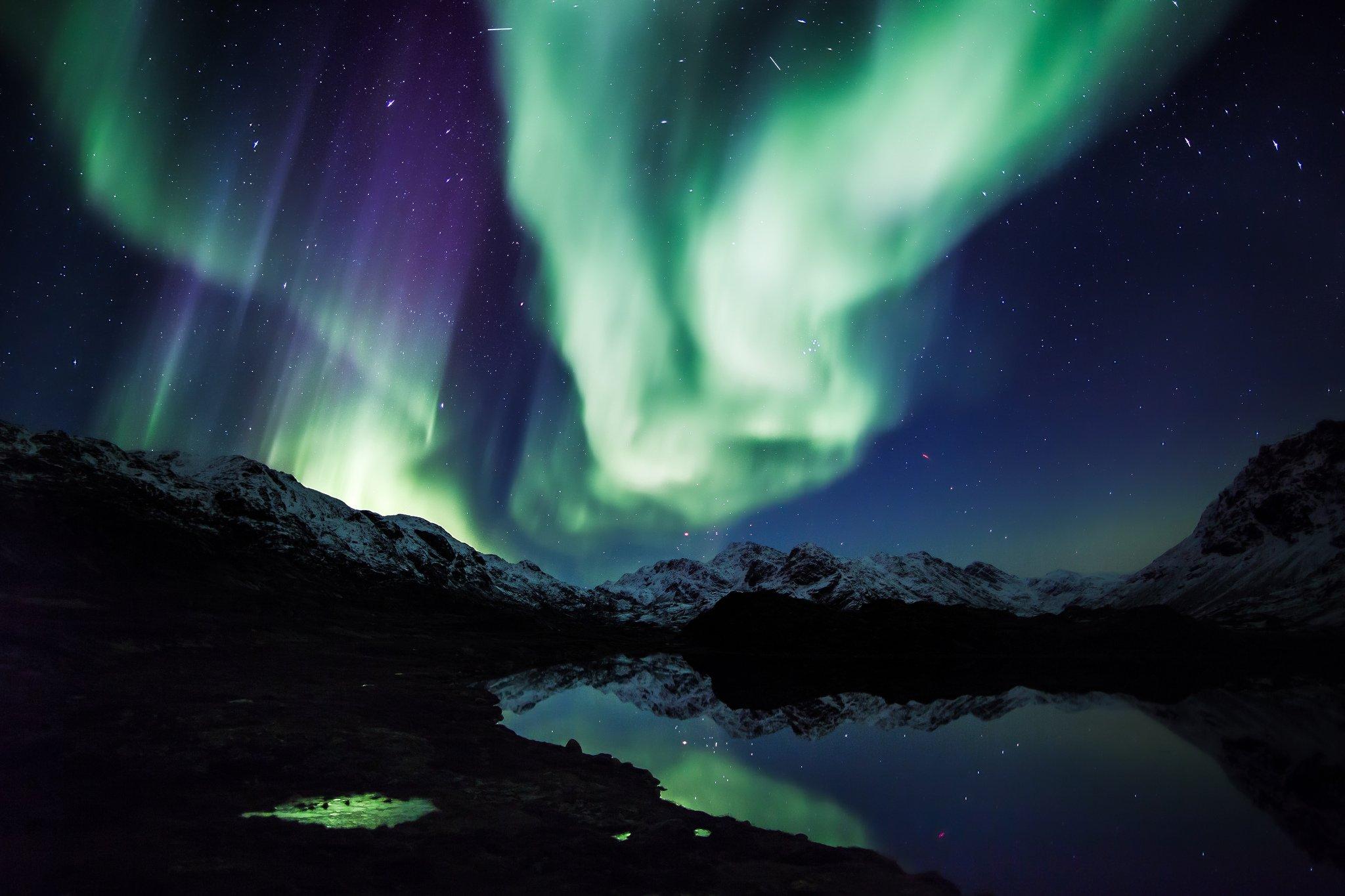 Alaska aurora aurora borealis northern lights Nature sky landscape