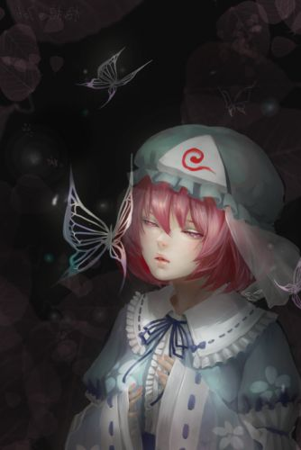 character touhou red butterfly girl realistic wallpaper