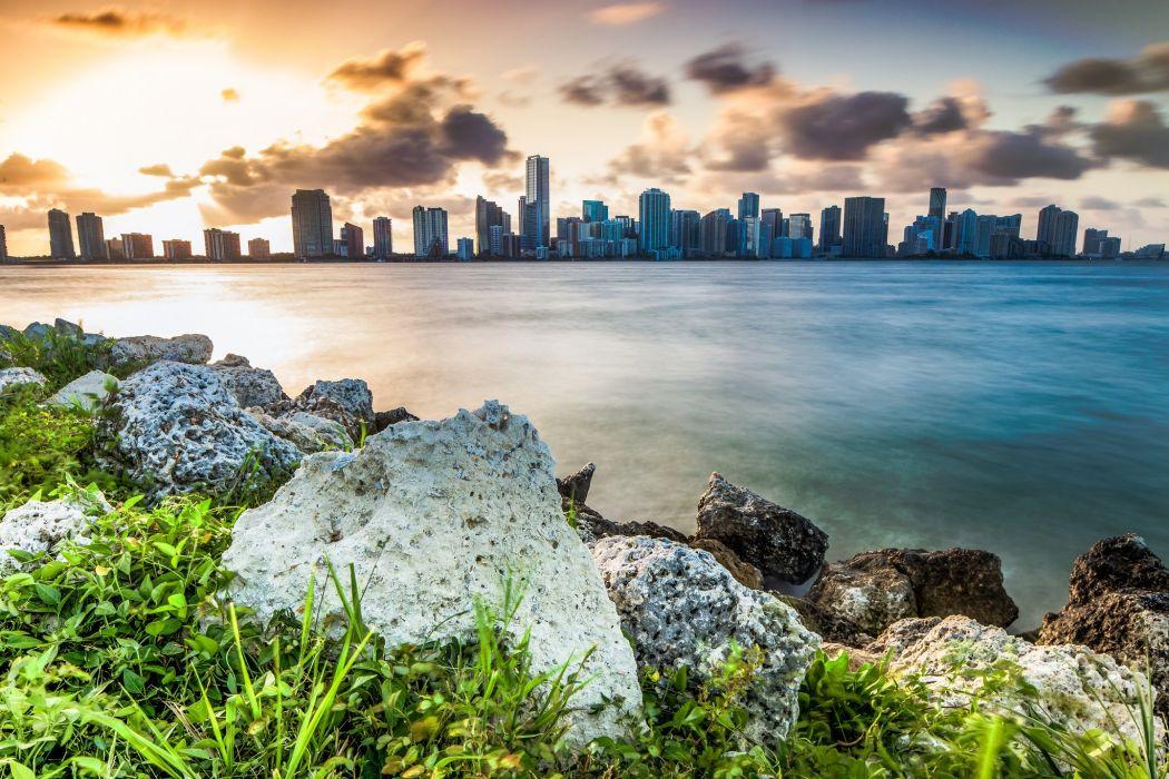 florida miami tower marina bridge beach monuments USA night urban cities United States panorama panoramic wallpaper