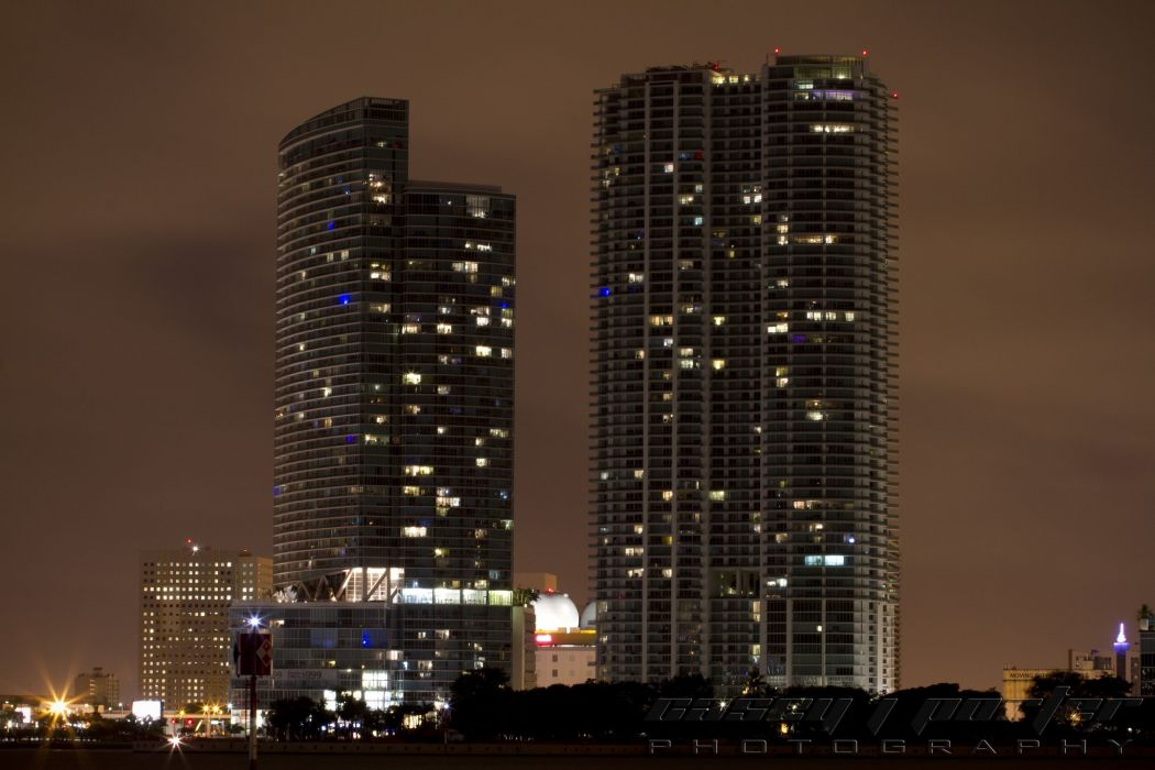 florida miami tower marina bridge beach monuments USA night urban cities United States panorama panoramic wallpaper