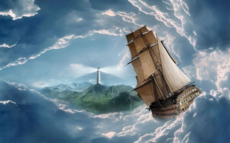 SHIP-sailing-clouds-lighthouse-gate wallpaper