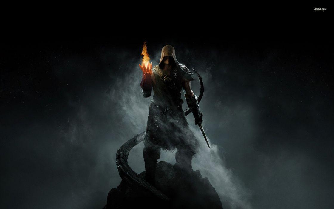 SKYRIM - fire-smoke-sword-magic wallpaper