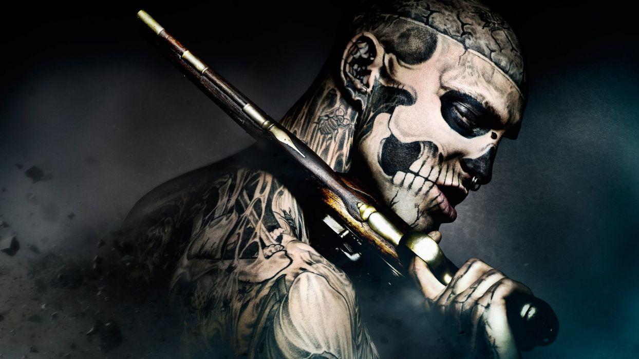 TATTOOED BODY - freak-gun-tattoo-skull wallpaper