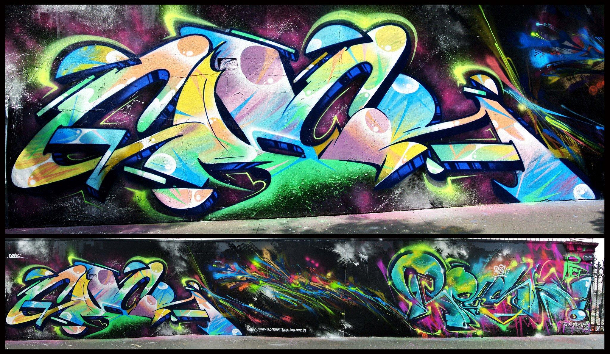 Art Color Graffiti Paint Psychedelic Urban Wall Rue Tag Peinture Wallpaper  | 2048x1190 | 448797 | WallpaperUP