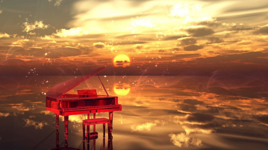 aira mamiya clouds instrument nobody original piano scenic sky sunset wallpaper