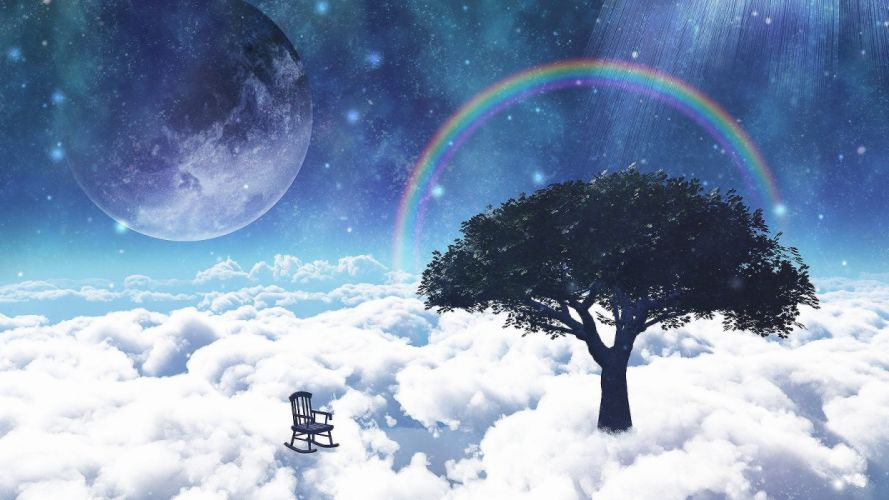 aira mamiya clouds nobody original rainbow scenic sky space stars tree wallpaper