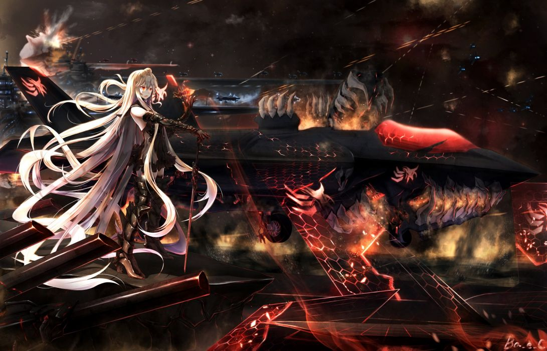 aircraft aircraft carrier oni armored aircraft carrier hime boyogo gray hair kantai collection long hair red eyes wallpaper