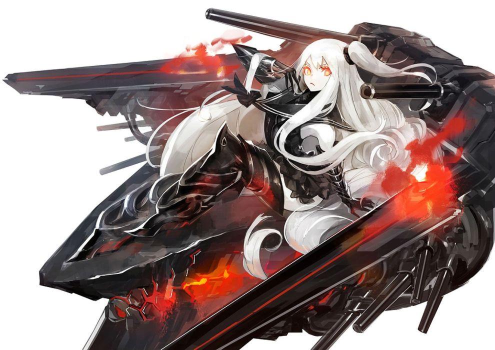 aircraft carrier oni fire kantai collection long hair orange eyes pump (artist) white hair wallpaper
