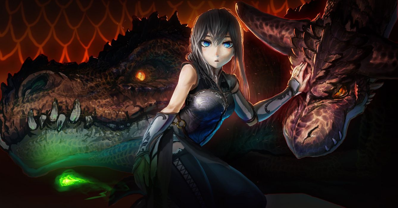 akio-bako blue eyes dragon gray hair original wallpaper