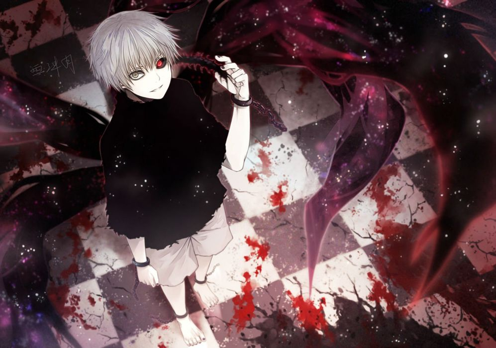 all male angel31424 barefoot black eyes blood chain gray eyes kaneki ken male red eyes shackles short hair shorts signed white hair wristwear wallpaper