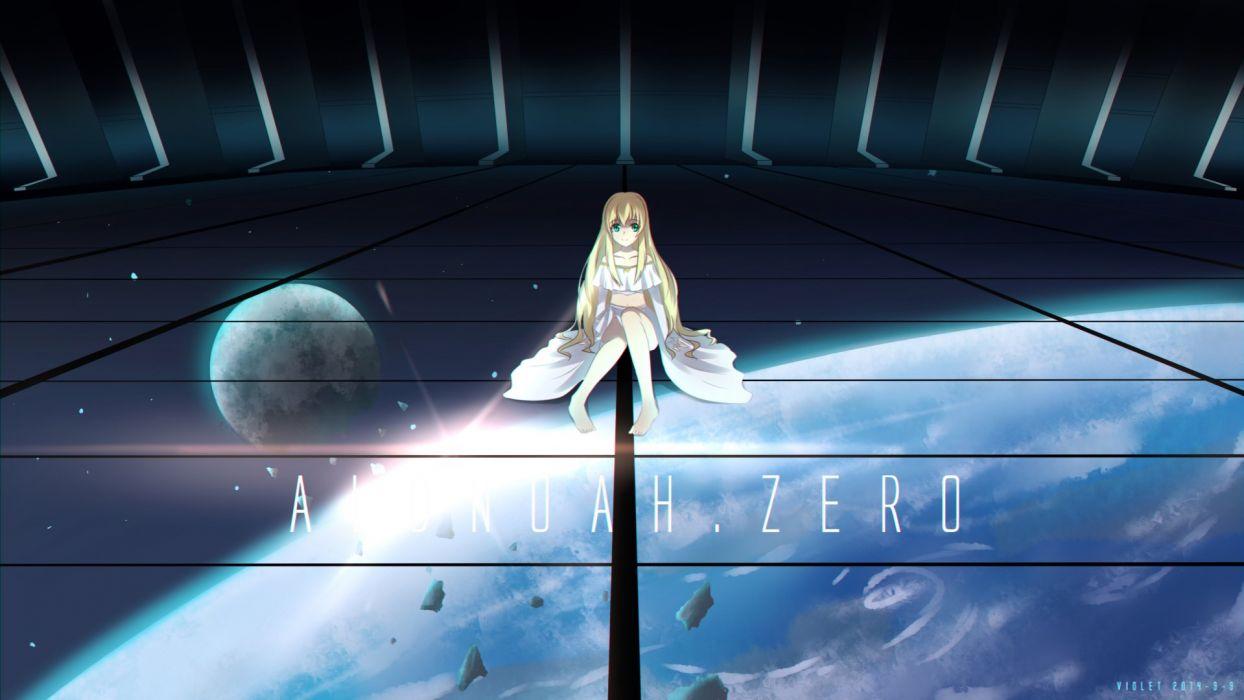 aldnoah zero asseylum vers allusia blonde hair earth moon violet (eightonemini) wallpaper