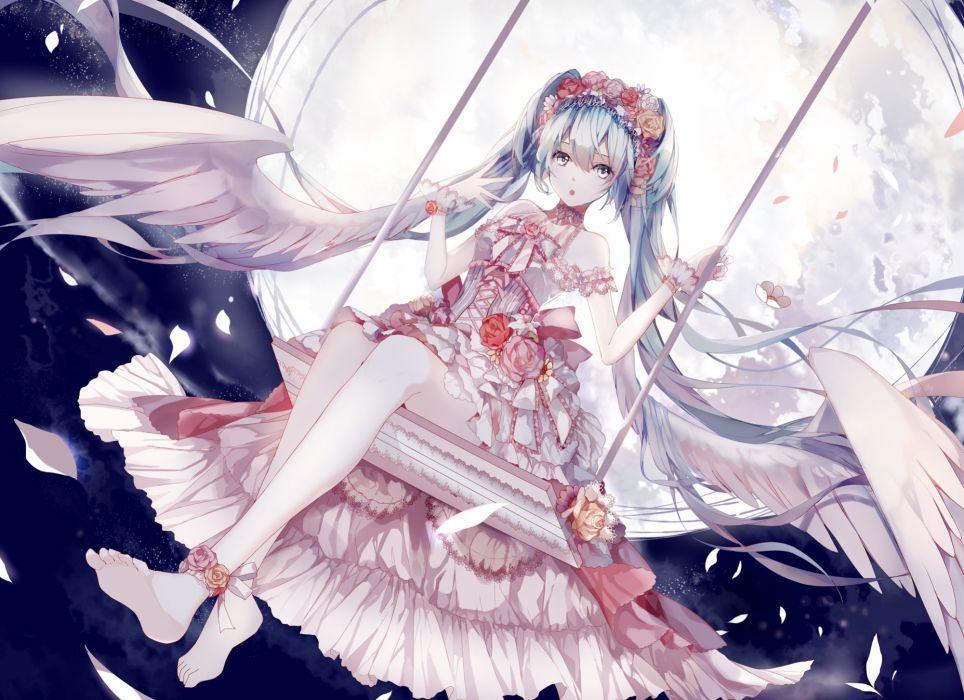 amatsukiryoyu barefoot blue eyes blue hair clouds dress flowers hatsune miku long hair moon night petals sky twintails vocaloid wings wallpaper