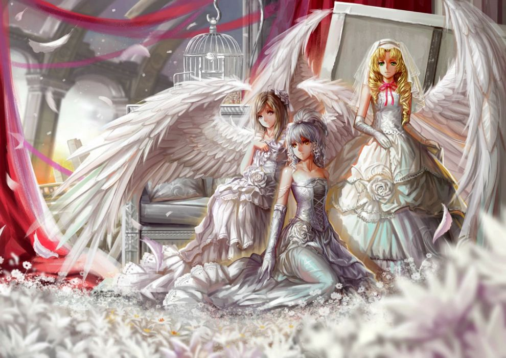 angel blonde hair cage elbow gloves feathers flowers ribbons saber 01 wedding attire white hair wings wallpaper