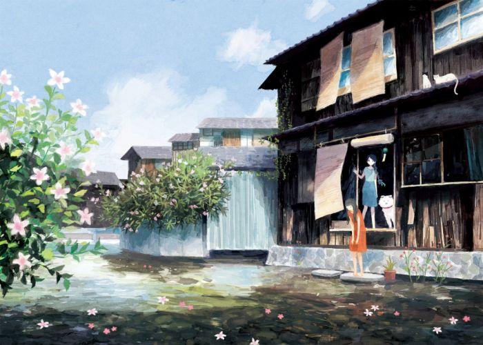 animal barefoot black hair blue hair building cat dog flowers long hair original scenic skirt yuuko (nora0x0) wallpaper