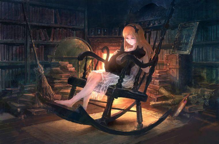 animal barefoot book cat dress fire headband long hair orange hair original you (shimizu) wallpaper