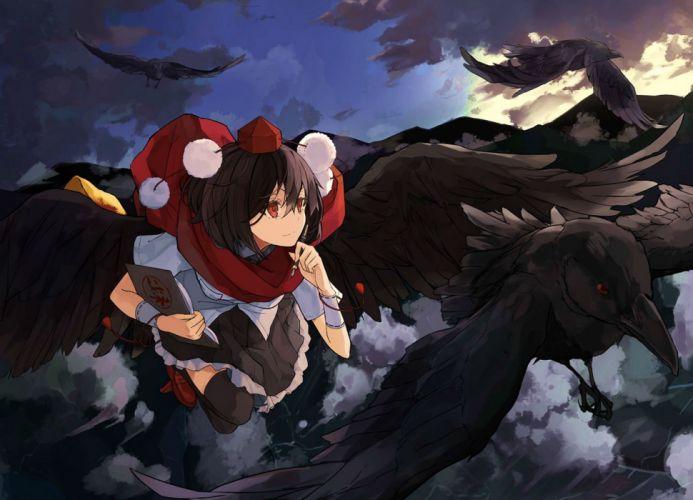 animal bird book clouds hat miruto netsuki scarf shameimaru aya skirt thighhighs touhou wings zettai ryouiki wallpaper