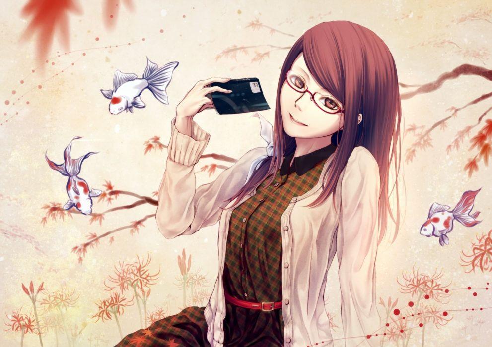 animal book fish glasses kamishiro rize long hair oki (koi0koi) red eyes red hair tokyo ghoul wallpaper