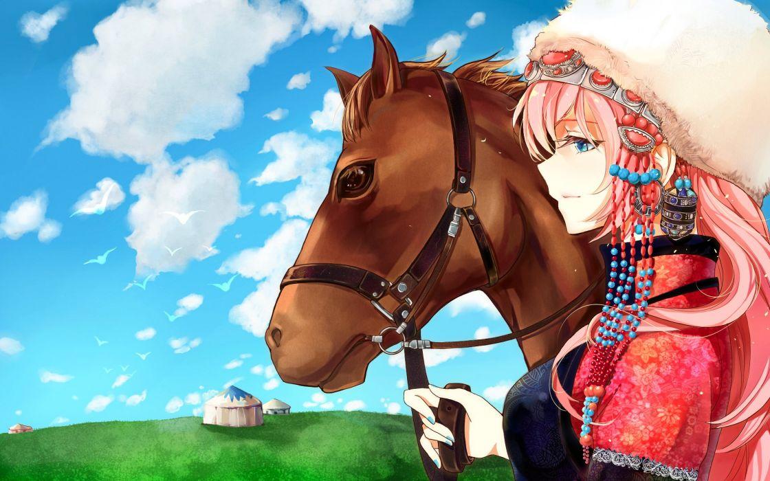animal blue eyes clouds funkid hat horse long hair megurine luka pink hair vocaloid wallpaper