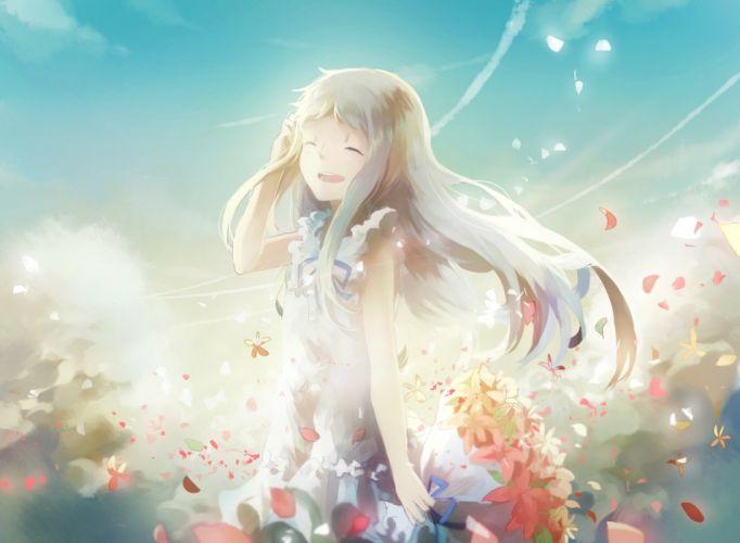 ano hi mita hana no namae wo bokutachi wa mada shiranai domik dress flowers honma meiko long hair petals wallpaper